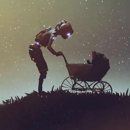 Illustration: Roboter schiebt Kinderwagen