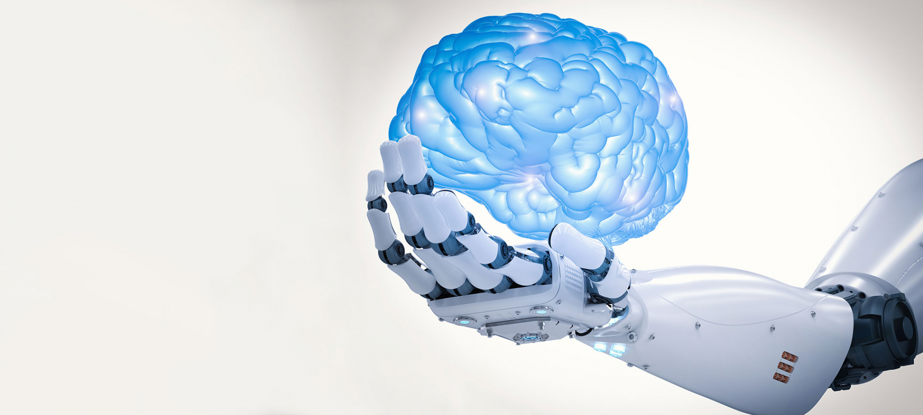 Header image with robotic arm and brain