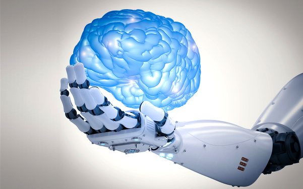 Illustration of a robots hand holding a human brain