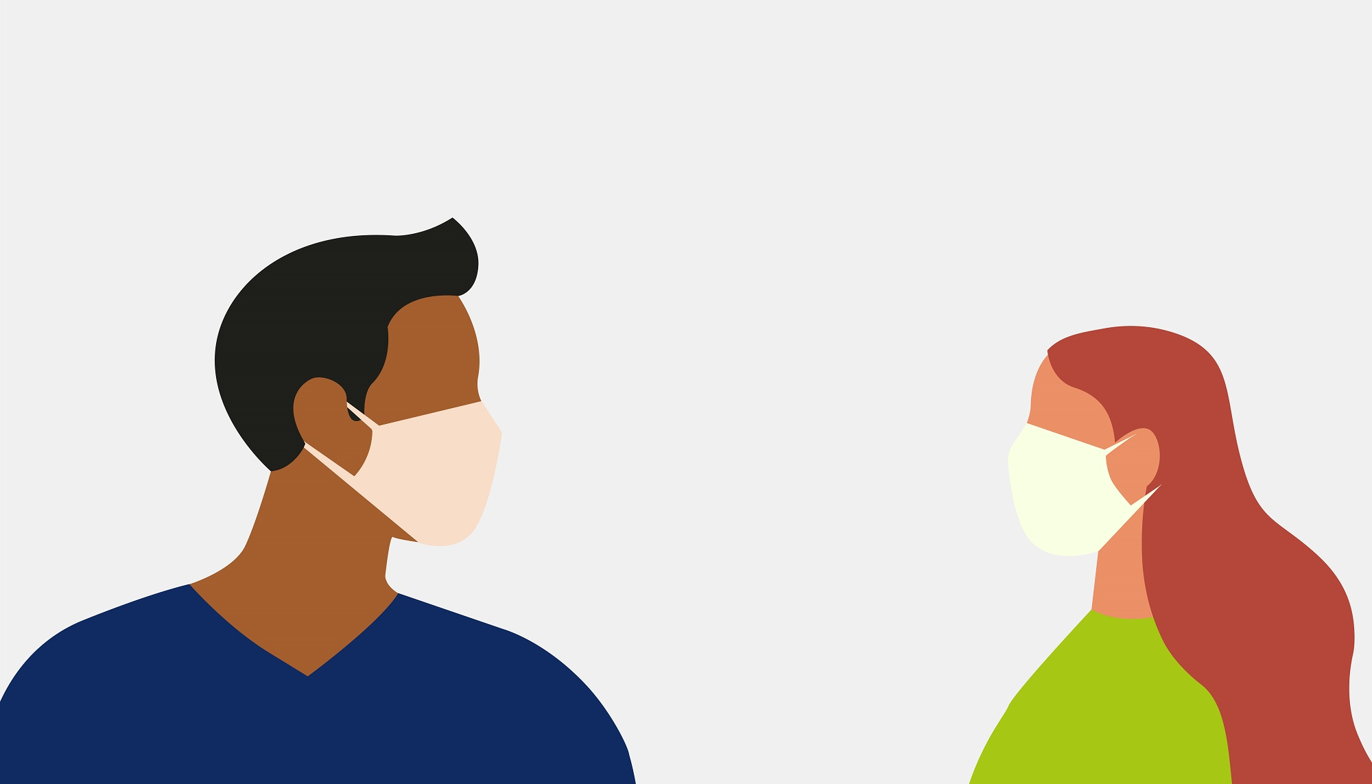 Graphic: Couple with face masks